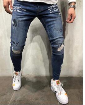 Jeans skinny bleu déchiré...