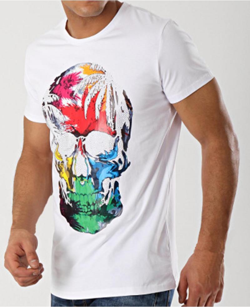 tee shirt homme manches courtes imprimé tête de mort