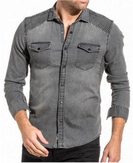 chemise grise denim aspect...