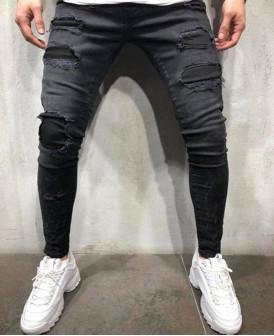 Jeans skinny noir déchiré usé
