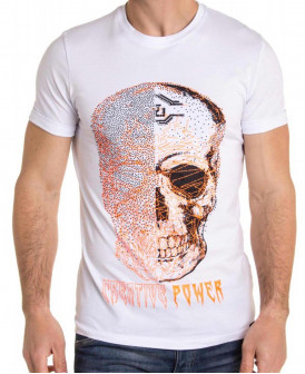 T-Shirt blanc imprimé tête...