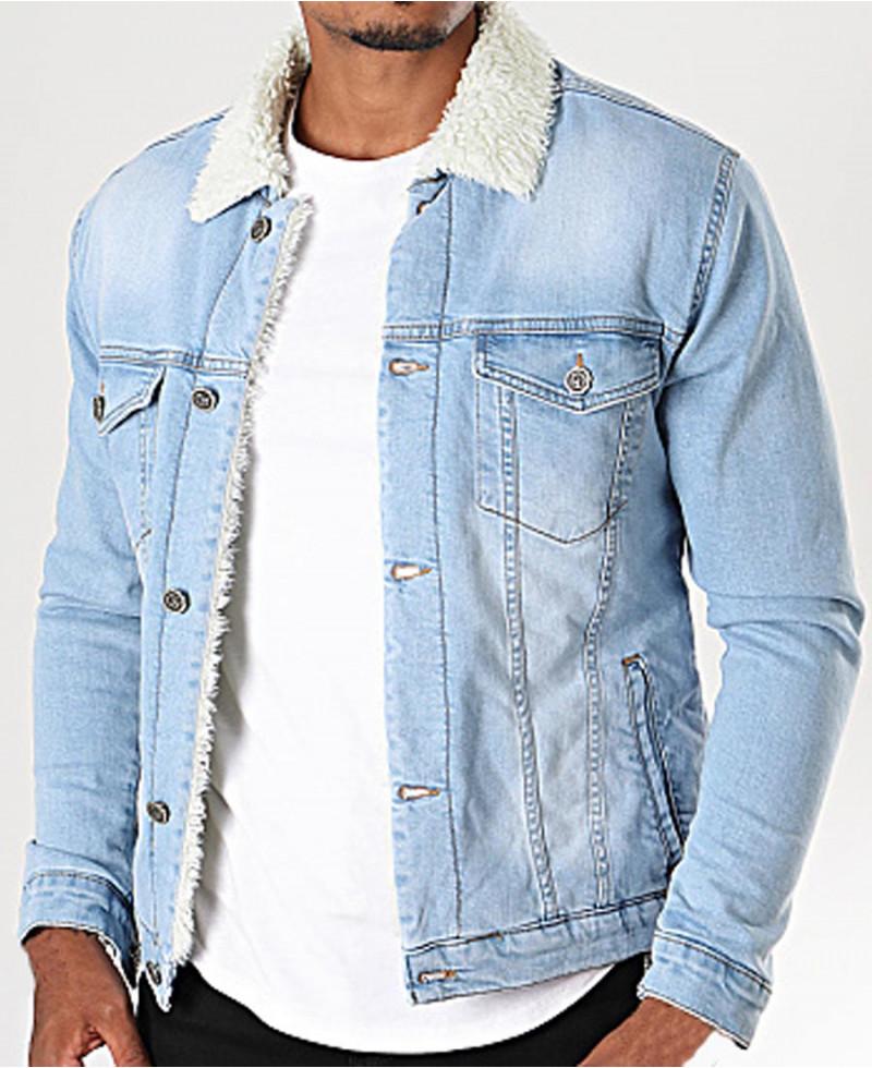 veste en jeans homme mouton