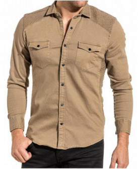 chemise beige aspect jeans
