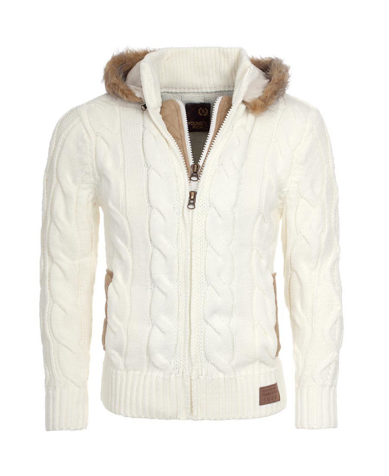 many fashionable huge sale new authentic gilet homme Ecru Young & rich rerock avec capuche fourrure