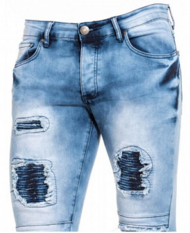 Jeans slim straight bleu...