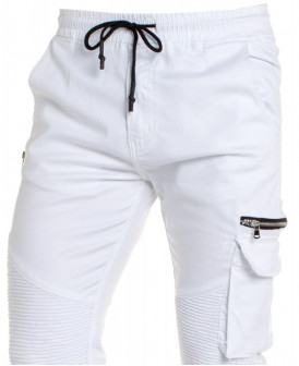 Jogger multipoches blanc