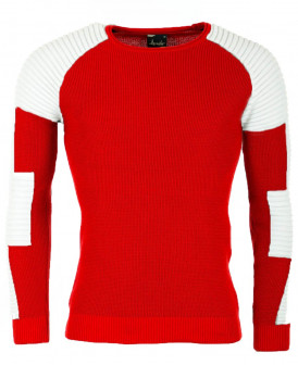 Pull fin rouge et blanc