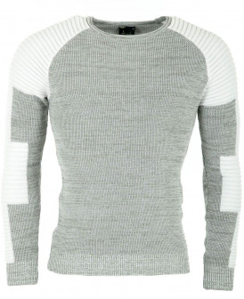 Pull fin col rond gris et...