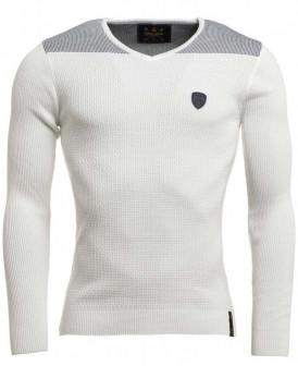 Pull fine maille blanc col...
