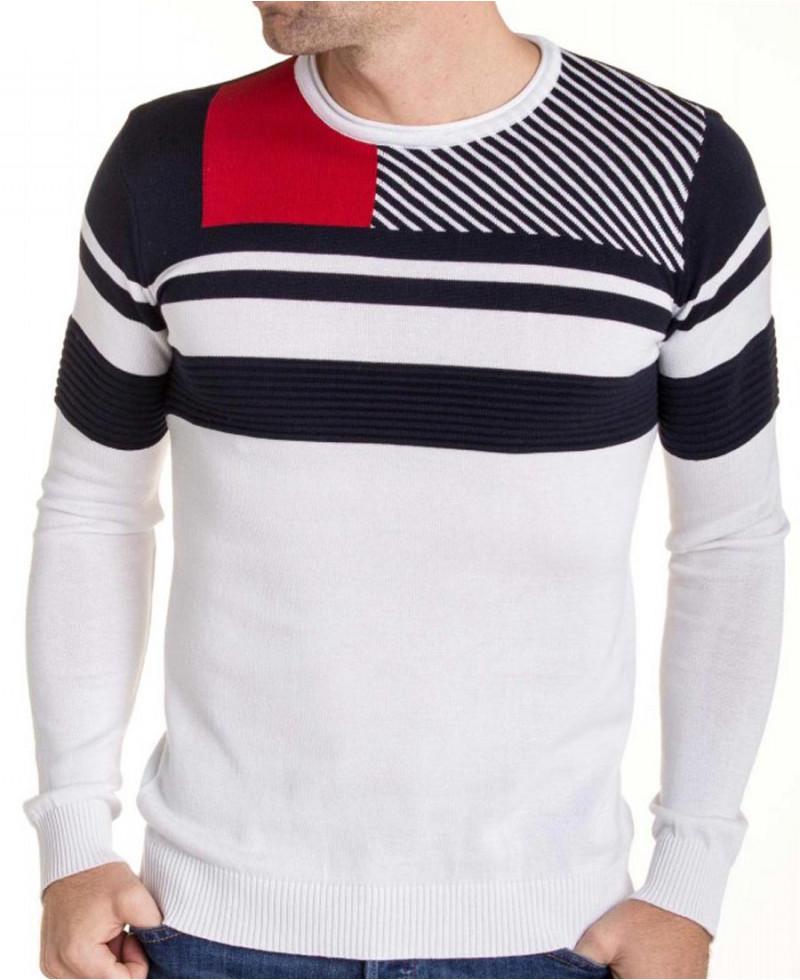 pull bande rouge blanc bleu homme