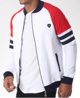 Veste zippée bleu blanc rouge