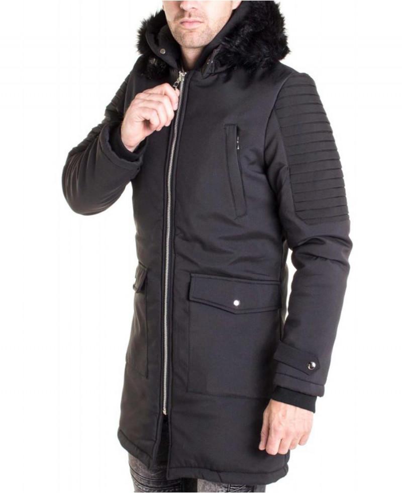 274c793ab1c Manteau doudoune longue avec capuche fourrure noir pour homme.