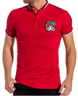 Tee shirt col mao rouge...