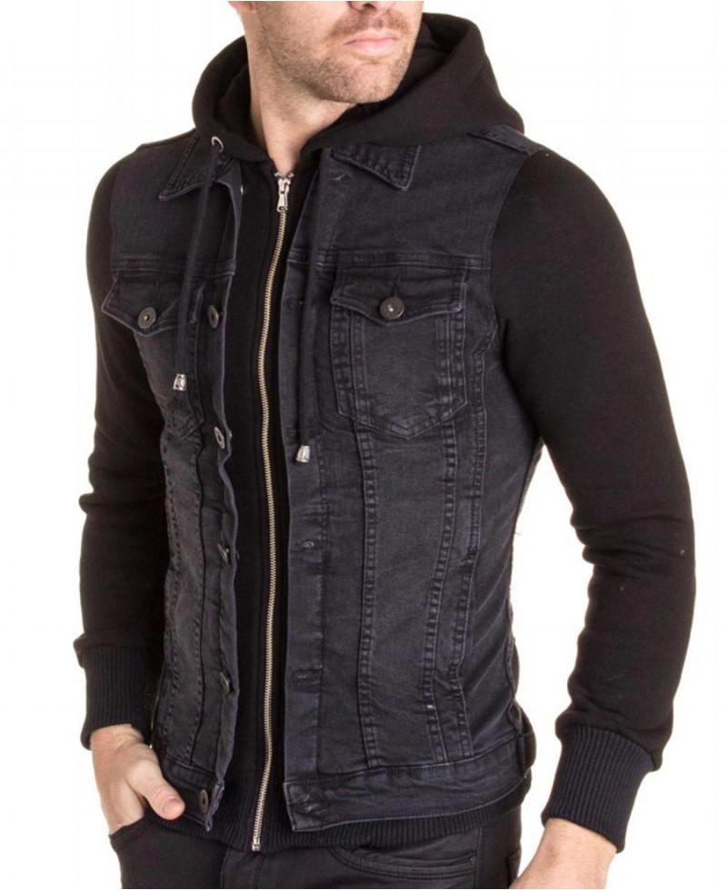 Blouson jean noir pour homme
