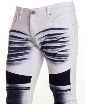 jeans slim blanc délavé...
