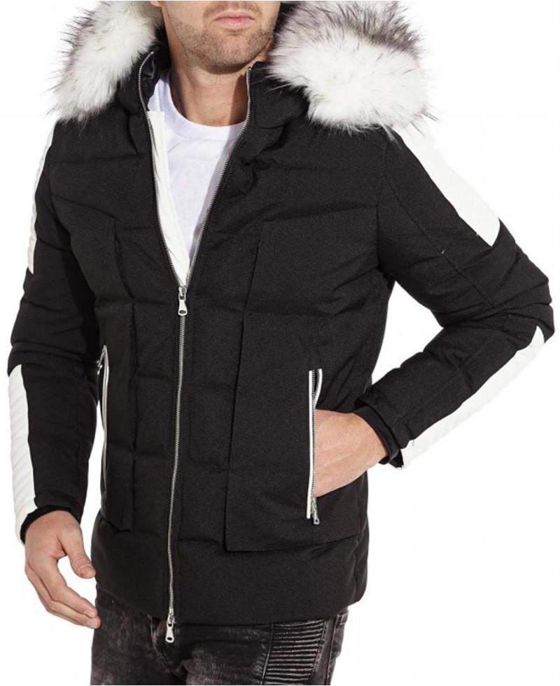 style attrayant 100% de haute qualité photos officielles blouson doudoune matelassé pour homme avec capuche et de la fourrure